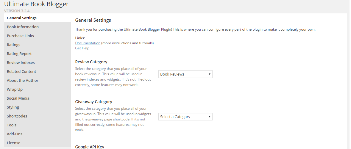 UBB settings page